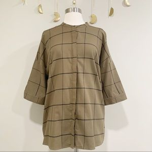 BCBGeneration Olive Green Plaid Button Down. Small